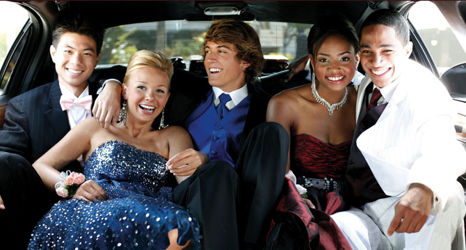 Image of 5 children in alimo on the way to prom
